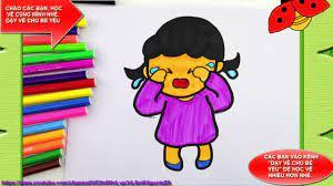 Bé tập vẽ bé gái khóc nhè với mẹ - YouTube