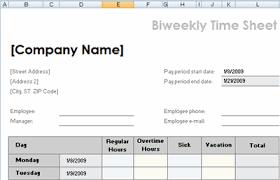 Bi Weekly Time Sheet Biweekly Time Sheet Template