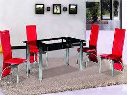 black glass dining table and 4 red chairs set