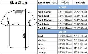 Blank T Shirts Size Charts