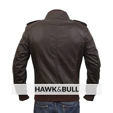 alpha male slimfit brown jacket faux leather brown by cavalry