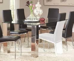 coaster bellini rectangular glass dining table stainless steel black