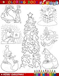 coloring book or page cartoon ilration of themes with or papa noel and