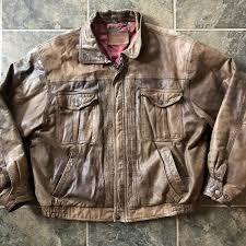 men s vintage levis strauss leather motorcycle brown er pilot jacket sz xl