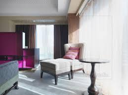 Stuhl Und Ottomane Im Schlafzimmer Neben Fenster Lizenzfreies Bild