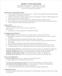 Early Childhood Education Resume Samples Inspirational Skills For