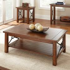 ... Living Room Coffee Tables And End Tables Best Design Brown Lacquered  Finish Rectangle Wooden Lower Shelf ...