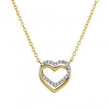 9ct yellow gold cubic zirconia heart