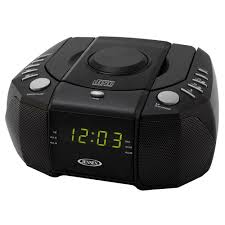 jensen am fm stereo dual alarm clock radio with top loading cd player digital