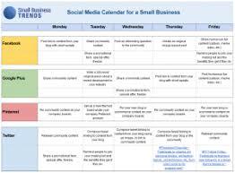 Calendar Formats Social Media Calendar Template For Small Business