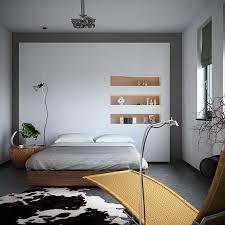 Organic Meets Industrial Bedroom Interior Design With Monochrome Cowhide  Rug Storage Niches And Earthy Styling