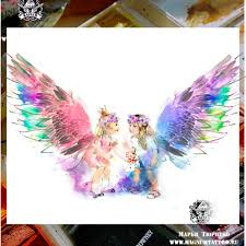 цветной женский эскиз тату акварель 288