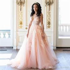 discount sexy blush pink wedding dresses charming deep v neck see