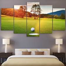 canvas hd printed modern pictures framed wall art photo home decor 5 panel sunset golf course on golf club wall art with canvas hd printed modern pictures framed wall art photo home decor 5