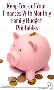 Family Budget For A Month Monthly Family Budget Printables