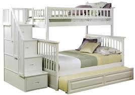white bunk bed with stairs. Amazon.com: Atlantic Furniture Columbia Staircase Bunk Bed With Trundle Bed,  Twin Over Full, White: Kitchen \u0026 Dining White Bunk Bed Stairs E