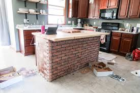 brick veneer on kitchen island