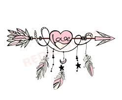 SVG DXF Silhouette Feather Arrow Dreamcatcher Boho Native Love Etsy Classy Native Love