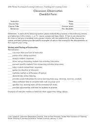 Sample Course Evaluation Form Awesome Sample Teacher Evaluation Form Free Documents In Self Example Of By