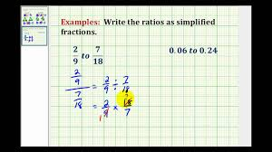 ratios in fraction form examples write a ratio as a simplified fractions involving decimals