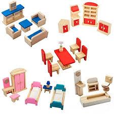 doll house furniture sets. Giraffe 5 Set Colorful Wooden Doll House Furniture Wood Miniature Bathroom/ Living Room/ Dining Bedroom/ Sets