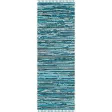 rag rug blue multi 2 ft x 8 ft runner rug
