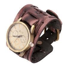 vintage genuine leather bracelet watch fashion punk men teens quartz wrisches wristband cuff bangle party festive gift black brown designer