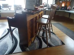 Repurposed Breakfast Bar Kitchen Island with High Back Bar Stools