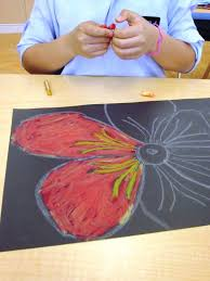 oil and chalk pastels in grade two art lessons for kids