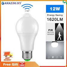 ip42 led pir sensor bulb e27 12w 18w ac 220v 110v dusk to dawn light bulb