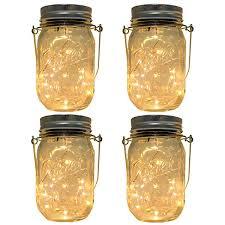 multi color outdoor solar jar design. 4-Pack Solar-powered Mason Jar Lights (Mason \u0026 Handle Included),10 Bulbs Warn White Multi Color Outdoor Solar Design
