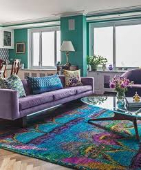 Purple Furniture, Turquoise Walls And A Bold Eastern Rug Combining All  These Shades