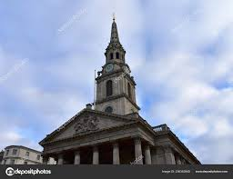 Martin Fields Church Trafalgar Square Neoclassical Facade Tower Spire Blue  — Stock Photo © jmbf #236352940
