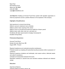 Truck Driver Cover Letter Resumes Armored Resume Sample Gallery Of