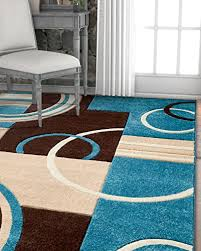 echo shapes circles blue brown modern geometric comfy casual hand carved area rug 5x7 5 3 x 7 3 easy clean stain fade resistant abstract