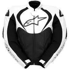 alpinestars jaws leather jacket black white thumb 0