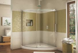curved frameless glass shower enclosure with a sliding door