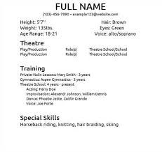 Musical Theater Resume Template Musical Theatre Resume Examples Resume  Examples And Free Resume Free