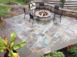 stamped concrete patio ideas around a fire pit