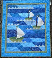 206 best Sailboat Quilts images on Pinterest | Quilt patterns ... & Nautical Sailboat Quilt by Jackiesewingstudio on Etsy Adamdwight.com