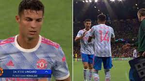 Cristiano Ronaldo's reaction to being substituted: Frown followed by chat  with Solskjaer
