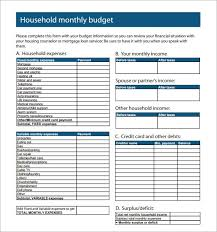 Sample Monthly Household Budget Sample Family Budget Threeroses Us