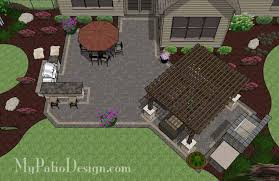 Rear Paver Patio Design with Pergola Fireplace Bar Download