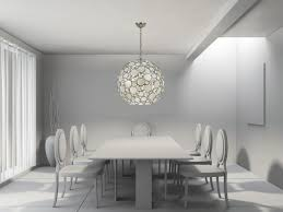modern monochromatic dining room with capiz chandelier