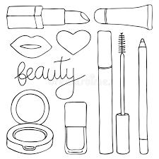 Lipstick Kleurplaat Cosmetics Or Make Up Set Hand Drawn Cartoon