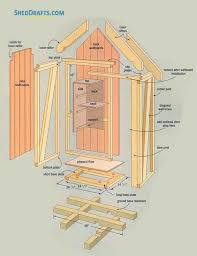 1x2 garden tool storage shed plans blueprints 01 building section