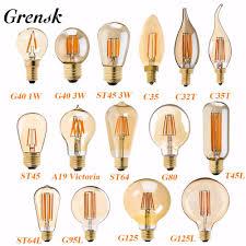 Us 254 15 Offgrensk Retro Led Lamp Dimmable Light Bulb E14 E27 220v Gold 1w 3w 4w 6w 8w E12 E26 110v Edison Led Filament Bulbs 2200k G40 St64 In