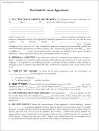 Residential Lease Agreement Template Example With Identification Of ...