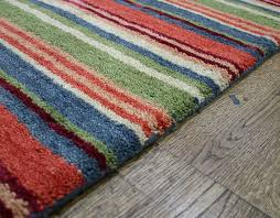 stripes luxury wool runner multi orange blue green rug