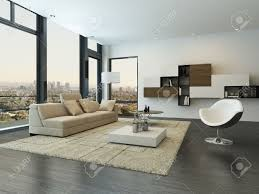 Modern Living Room Interior With Design Furniture Stock Photo